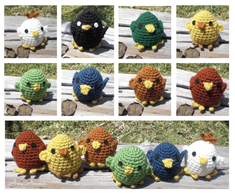 Easter Crochet Chicks in different colors