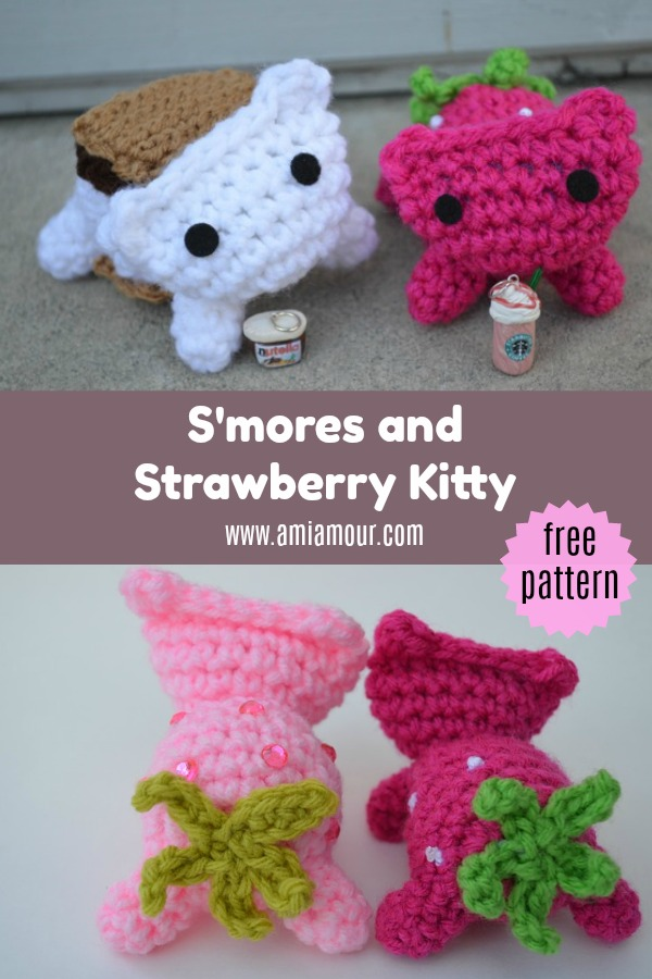 Cat Amigurumi Pattern Free S'mores and Strawberry Kitty Crochet