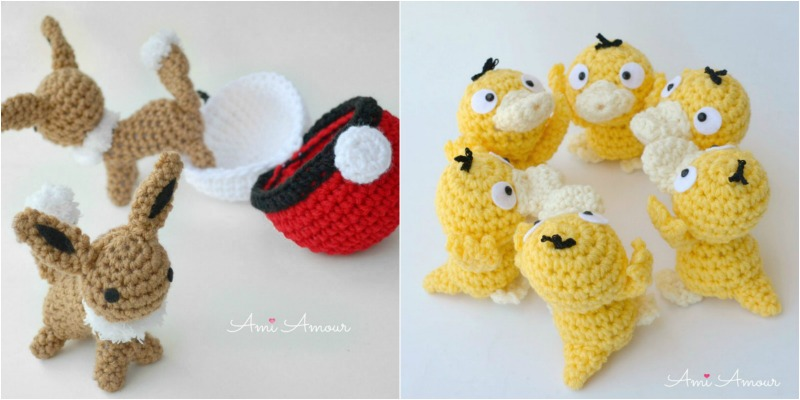 Amigurumi Eevee and Crochet Psyduck FREE patterns