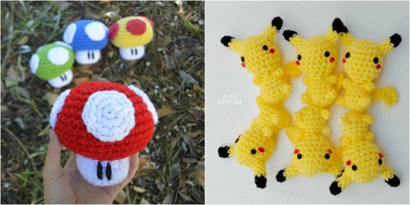 Crochet Mario Mushroom and Pikachu Amigurumi