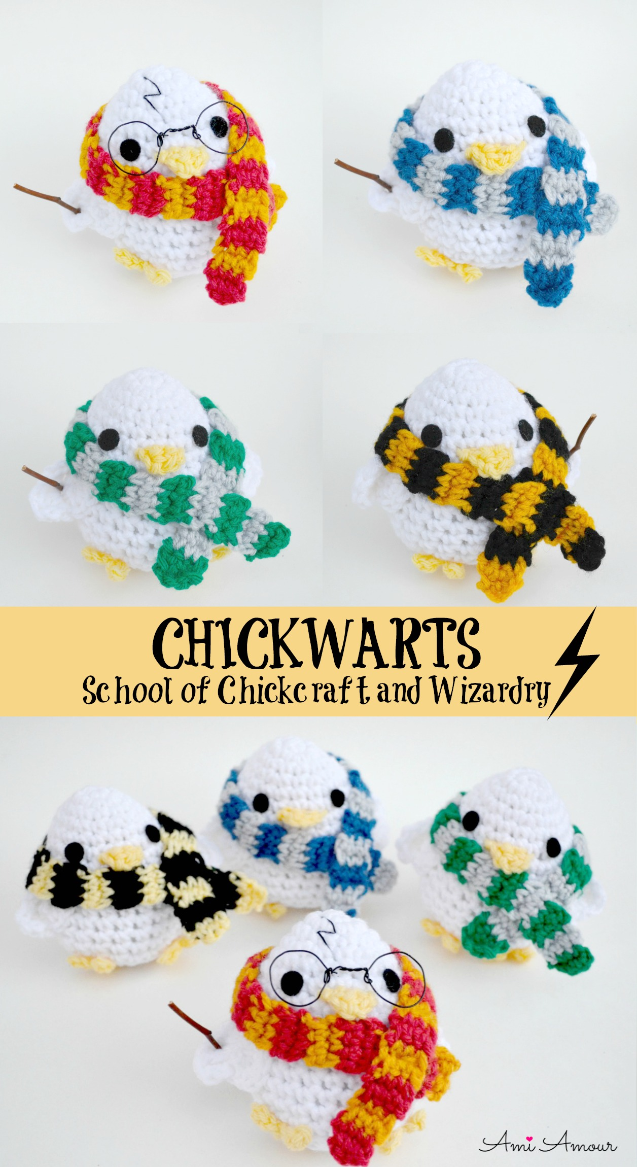 Harry Potter Amigurumi Chicks with House Scarves