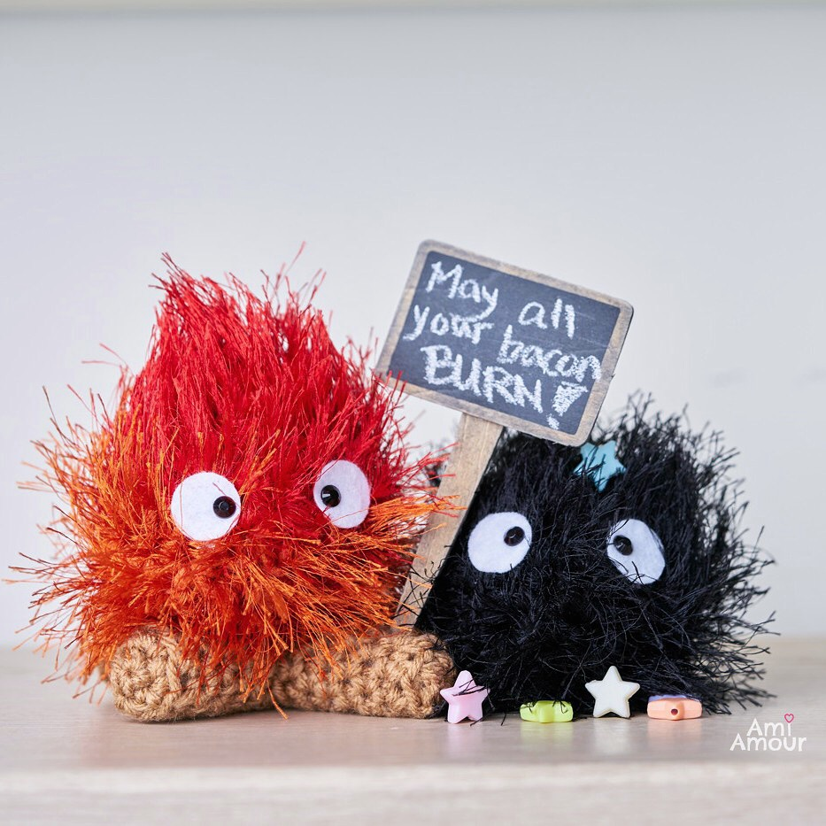 Calcifer May All Your Bacon Burn with Soot Sprite Amigurumi