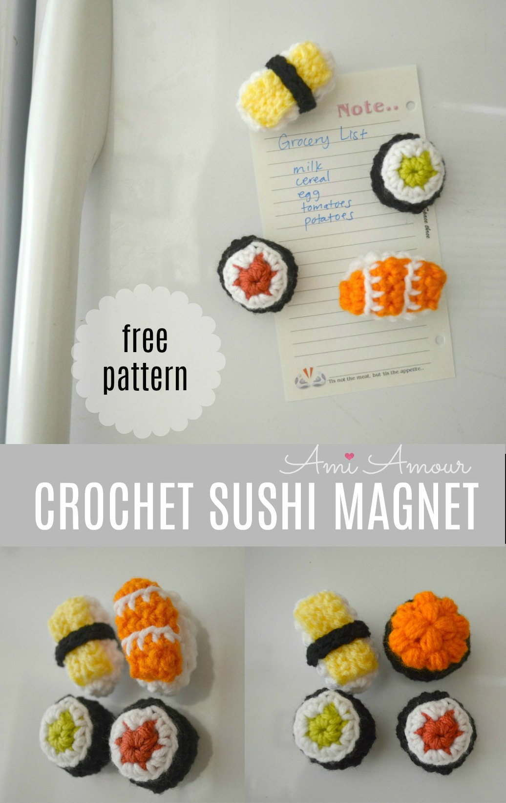 Crochet Sushi Magnets Free Pattern