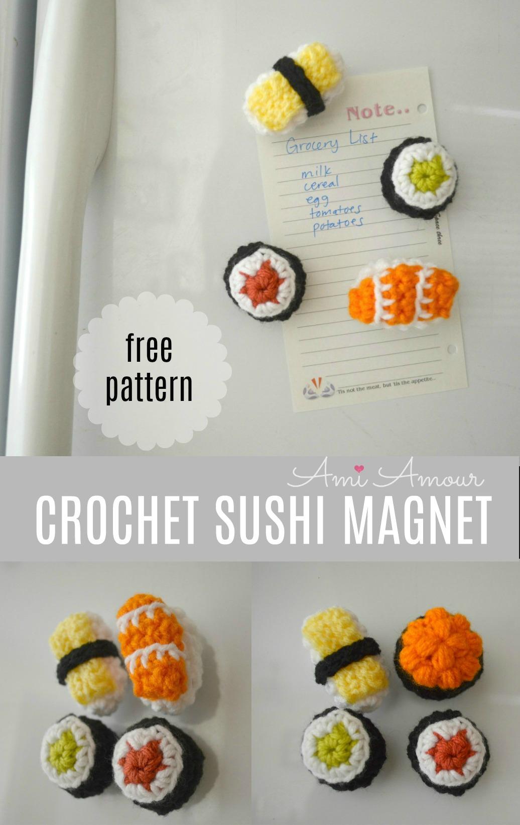 Häkeln Sie Sushi-Magneten kostenlose Muster