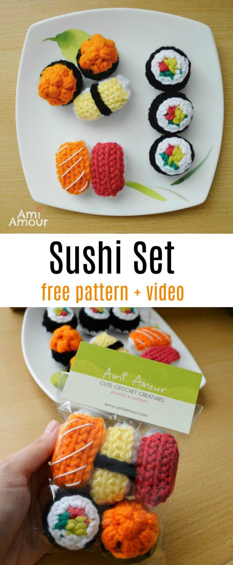 Sushi Crochet Free Pattern with Video Tutorial