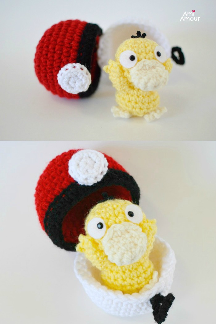 Psyduck with Pokeball - Free Pokemon Crochet Pattern