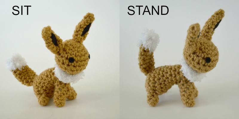 Eevee Amigurumi Sit and Stand Free Crochet Pattern