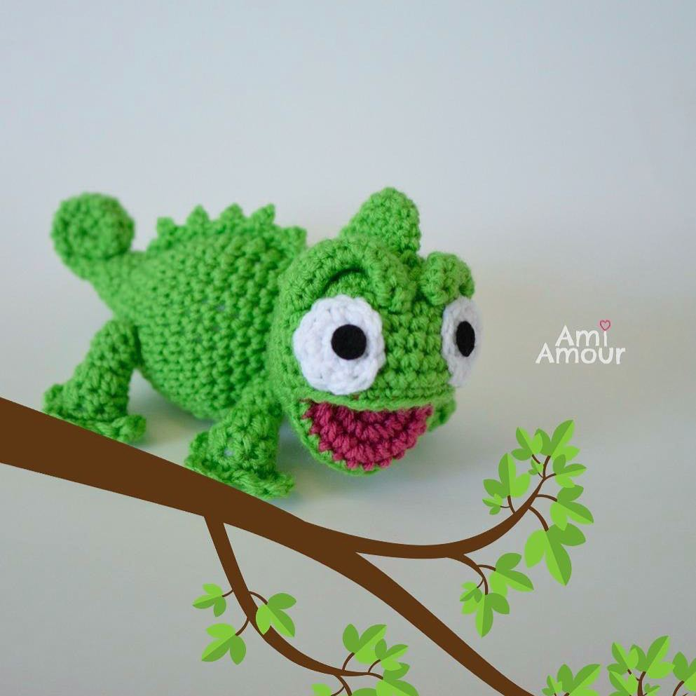 Chameleon Amigurumi Open Mouth