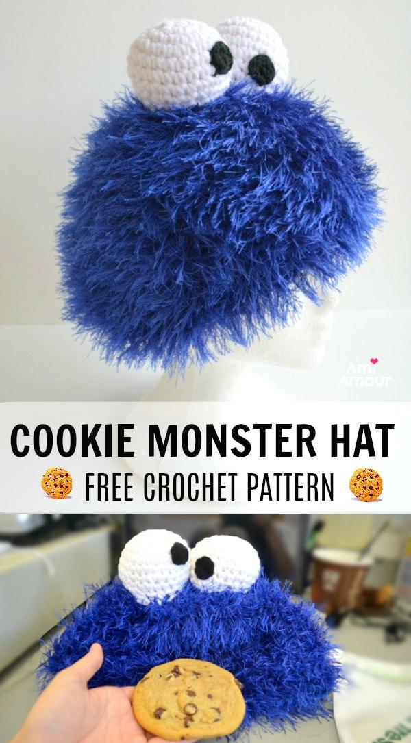 Cookie Monster Hat kostenlose Häkelanleitung