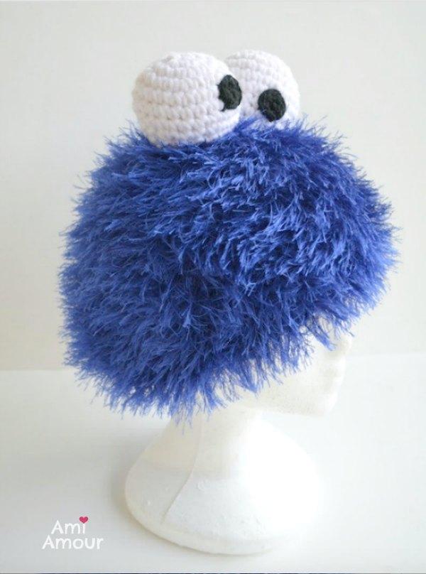 Cookie Monster Hut Wimpern Garn häkeln