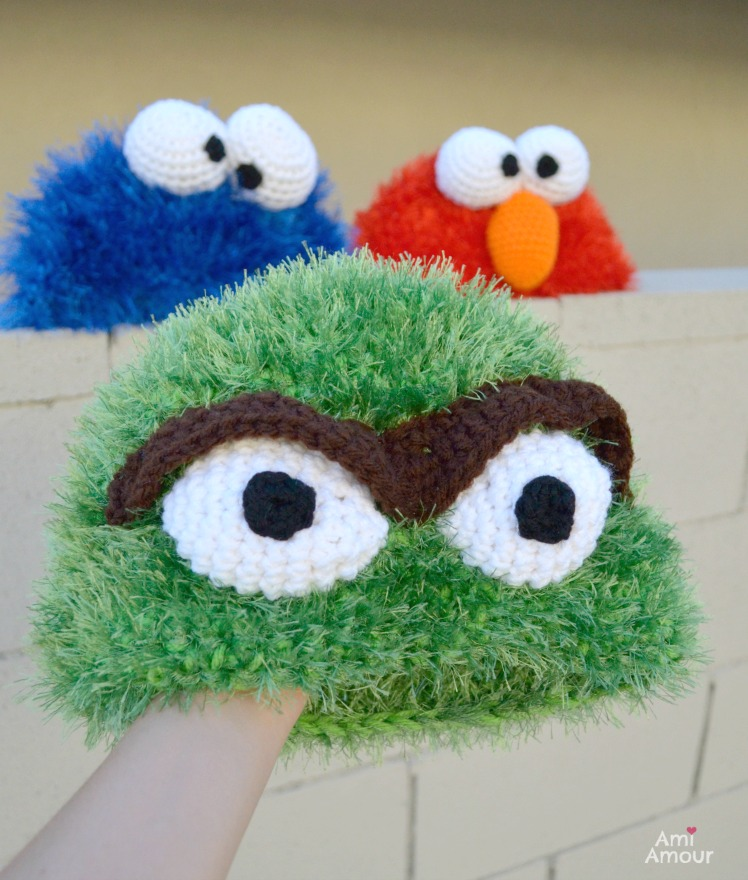 Crochet Oscar the Grouch with Cookie Monster and Elmo