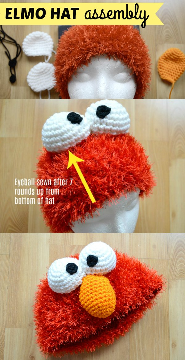 Elmo Crochet Hat Assembly