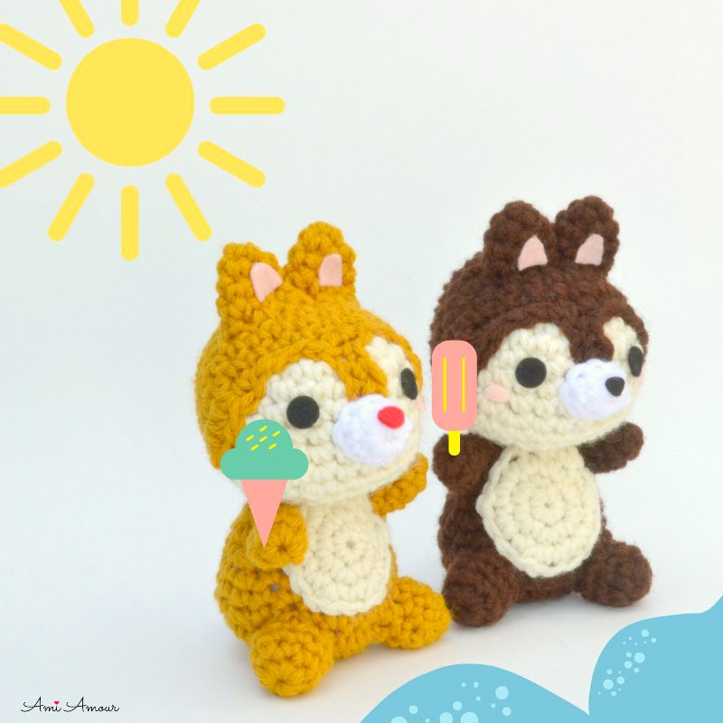 Chipmunk Crochet Pattern of Chip and Dale