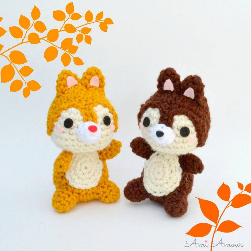 Crochet Chipmunk Chip and Dale Free Amigurumi Pattern