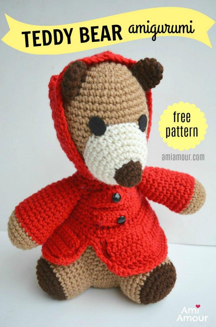 Crochet plush bear free pattern | Amiguroom Toys | 1058x700