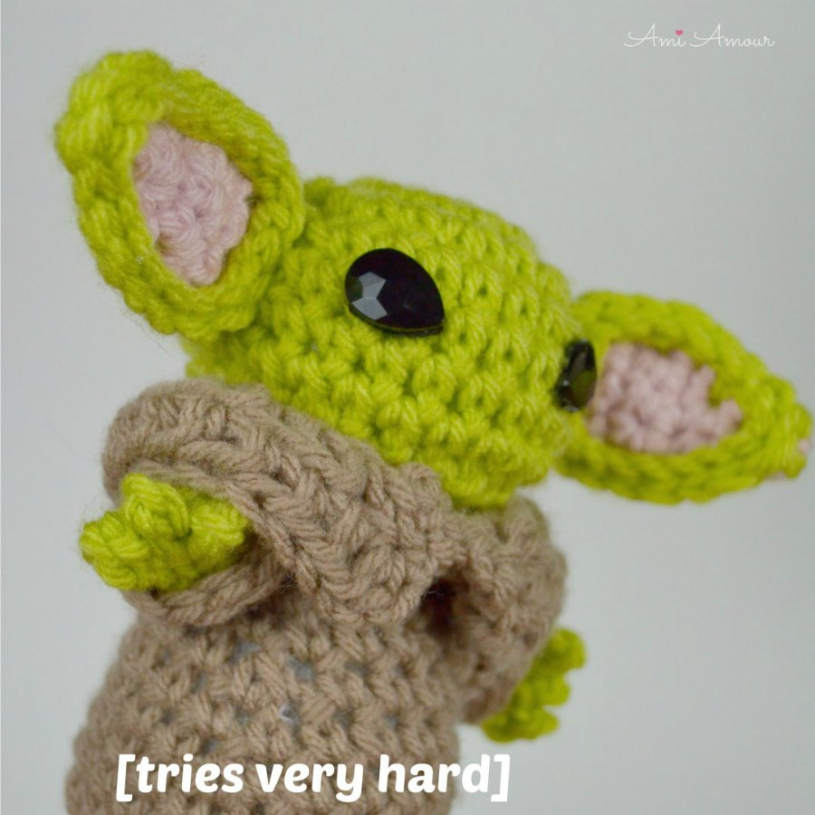 Baby Yoda Amigurumi Tries Very Hard Meme