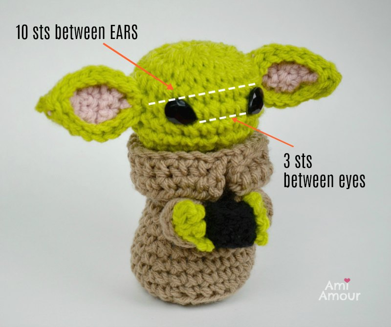 Baby Yoda Ears and Eyes for Amigurumi Assembly