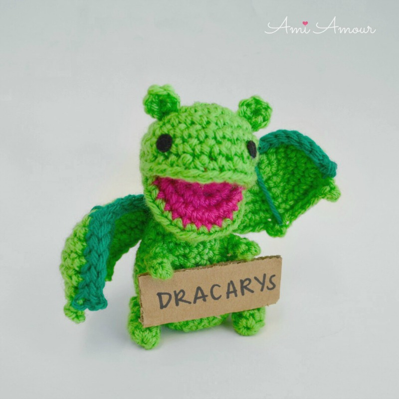 Dragon Amigurumi Holding Dracarys Sign