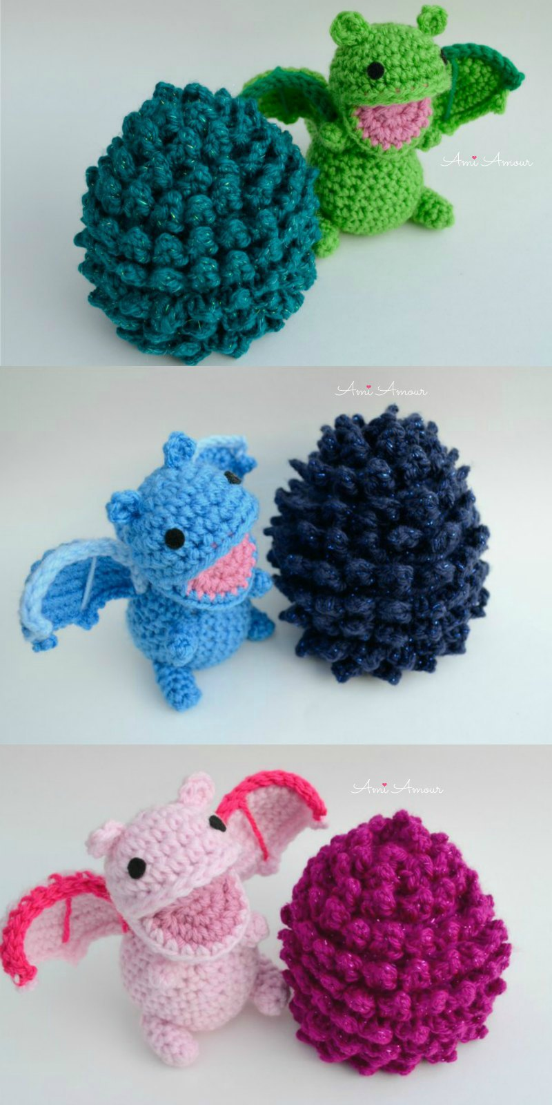 Crochet Dragons with Colored Eggs