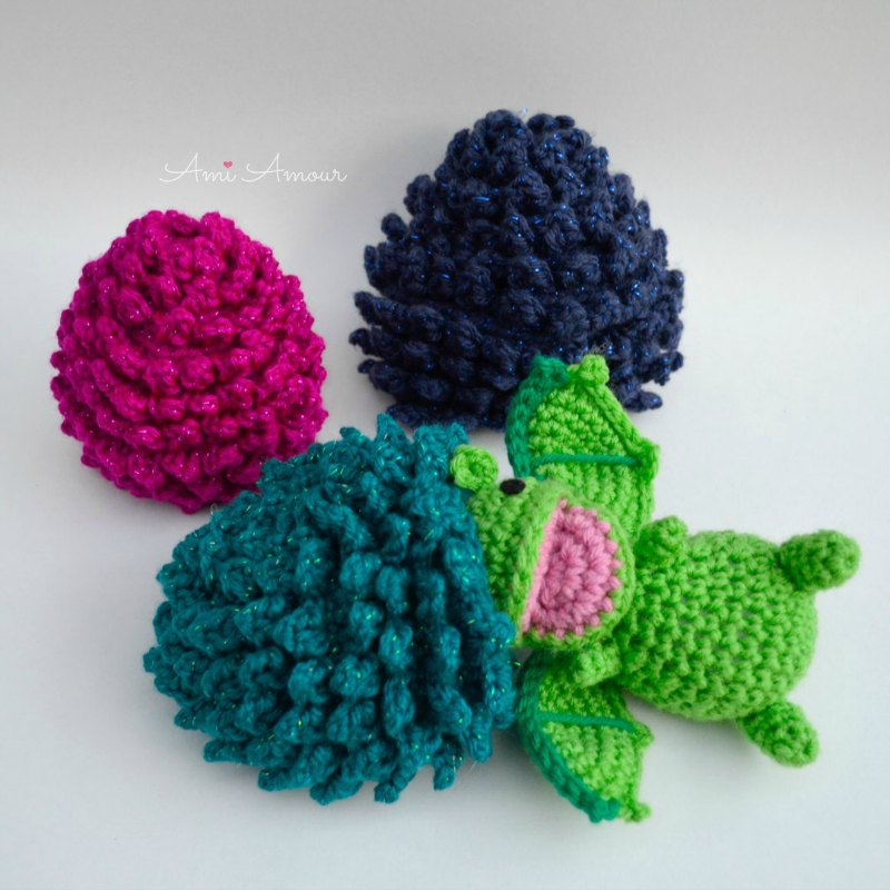 Crochet Dragon emerging from Egg