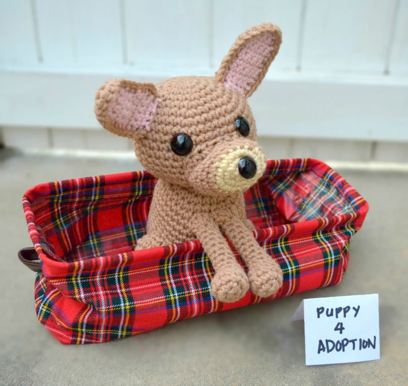 Amigurumi Chihuahua Dog  in cute basket