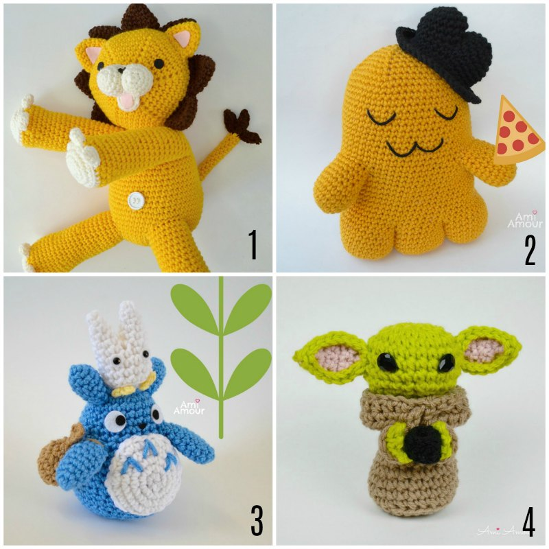 Free Crochet Patterns for Kon, Cheesekun, Totoro, and Baby Yoda