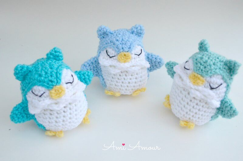 3 Owl Amigurumis in Blue Tone Colors