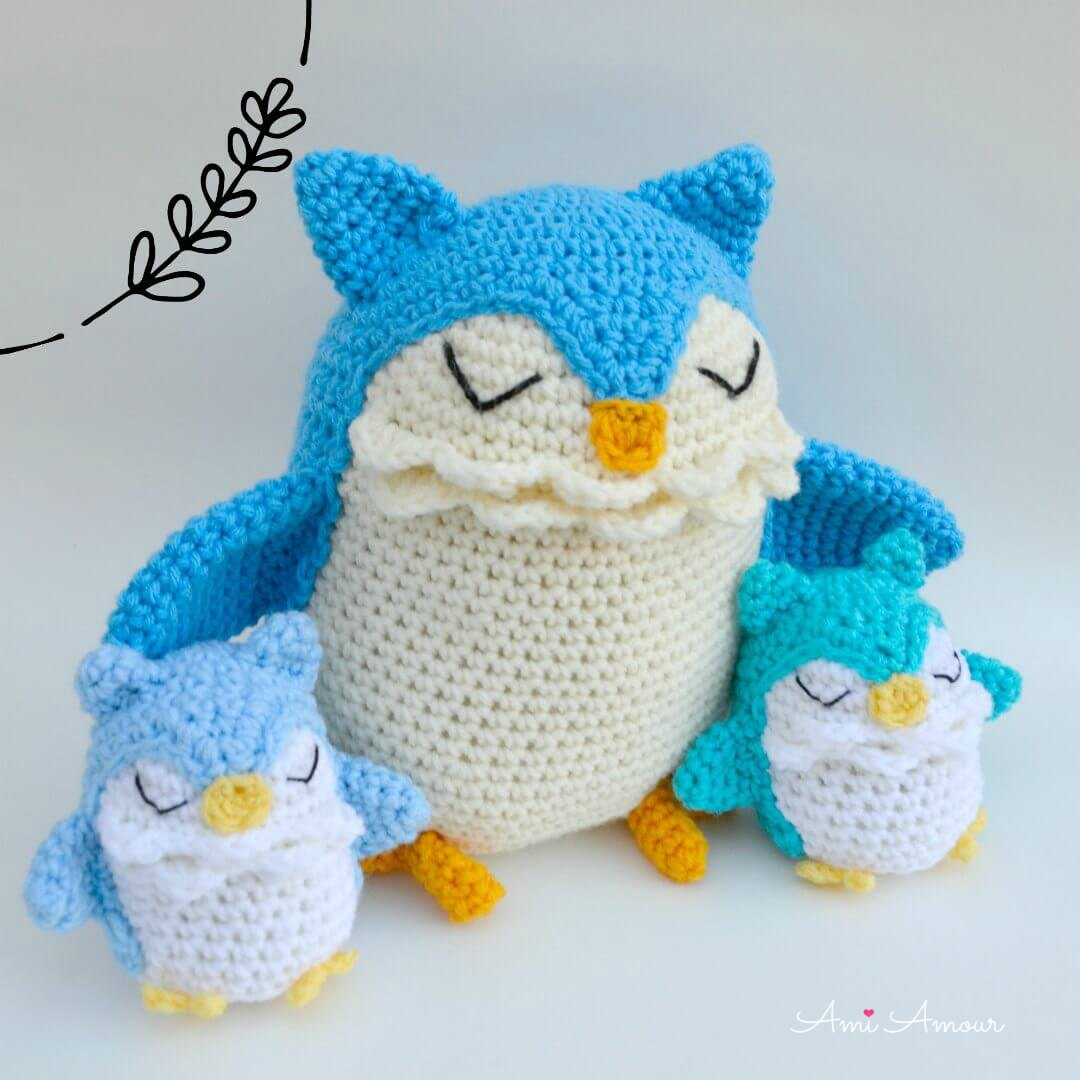 Crochet Owl Family - Mother with 2 Baby Owls Tucked under her Wings