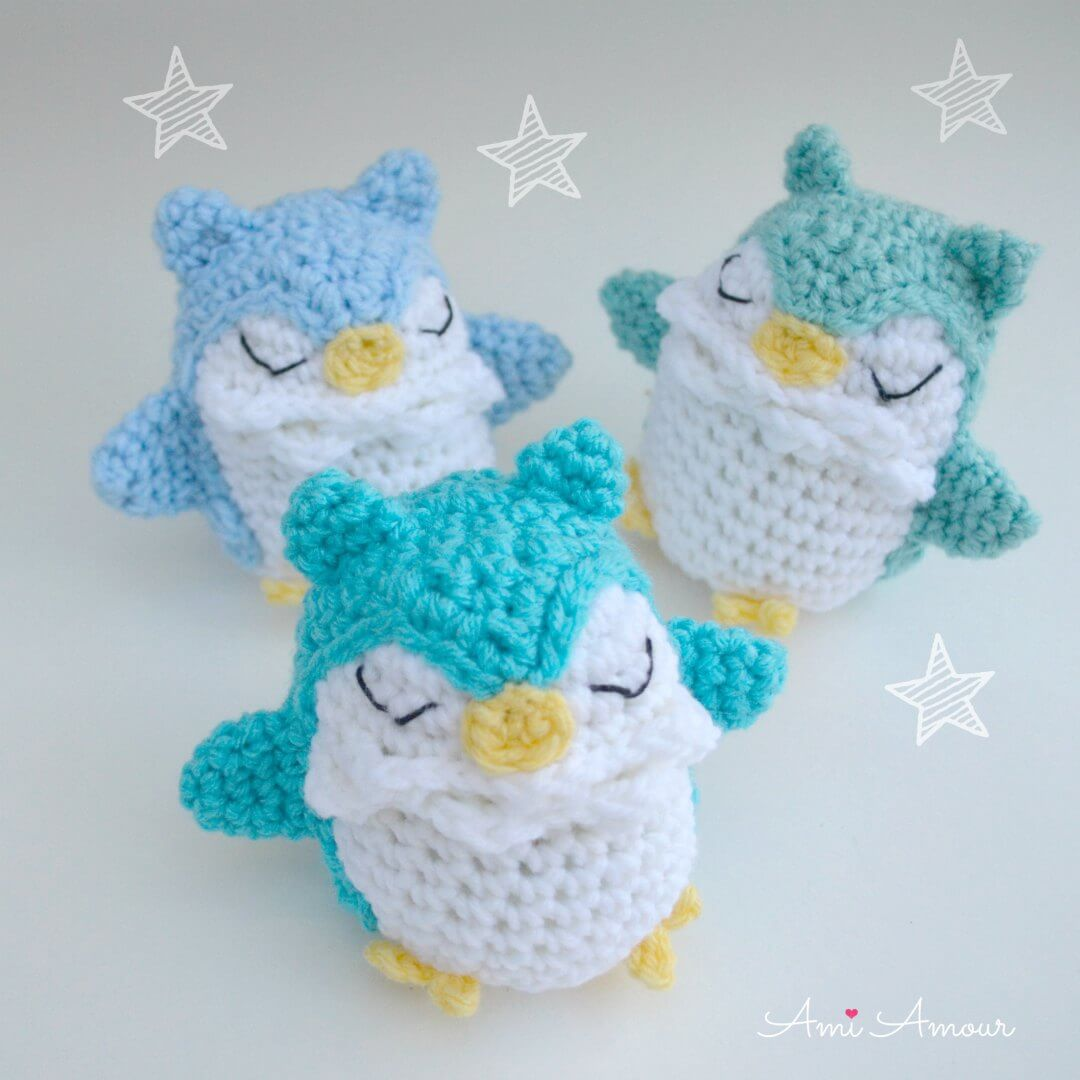 Owl Amigurumi Trio in Blue Ombre - Crochet Pattern