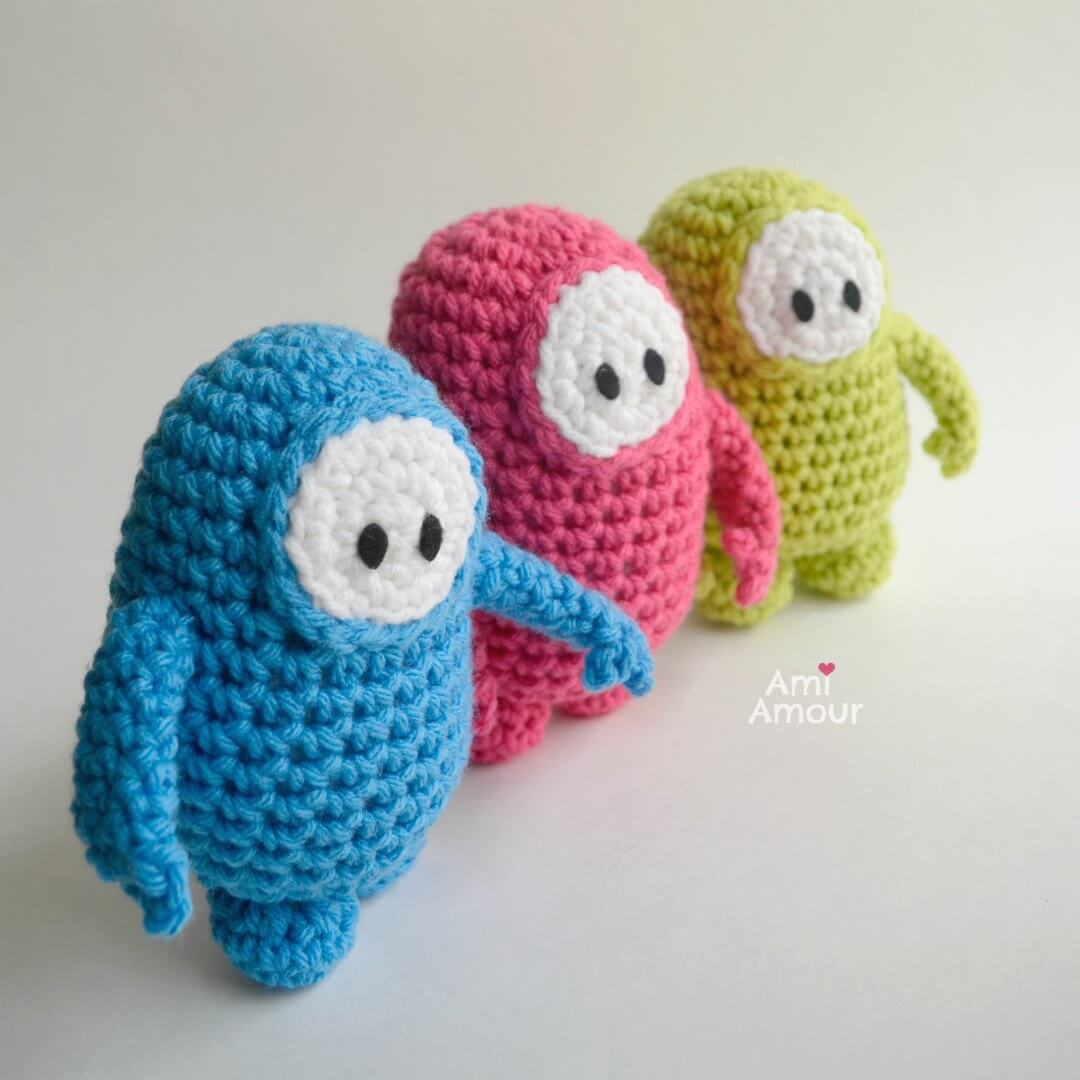 Crochet Fall Guys in Blue, Pink, and Green - Free Pattern