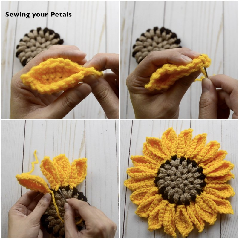 Sewing the Sunflower Petals into place