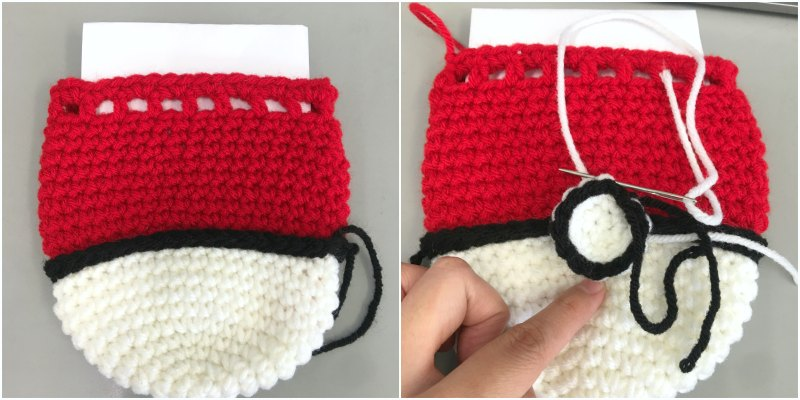 Sewing Pokeball Button onto Crochet Bag
