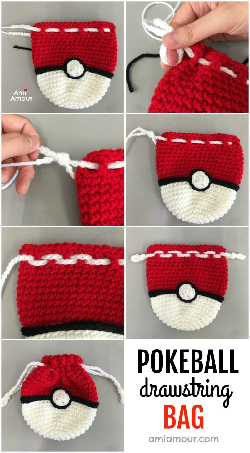 Pokeball Bag -Free Crochet Pattern and Tutorial