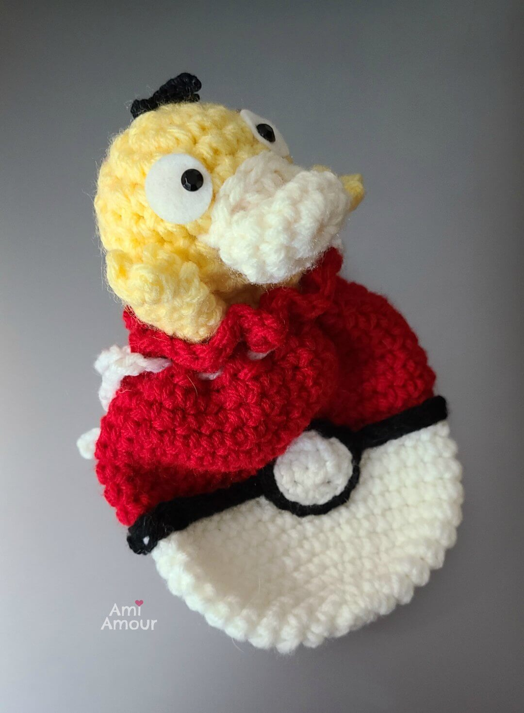 Psyduck stuck on Crochet Pokeball Bag - Free Crochet Pattern