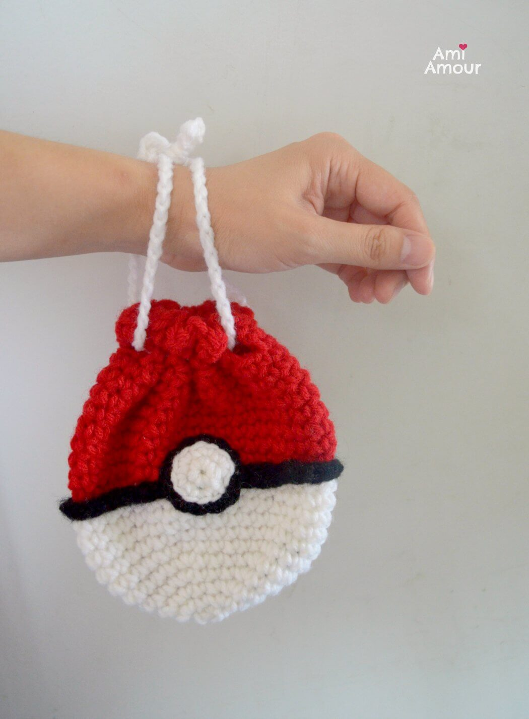 Pokeball Bag - Drawstring Crochet Bag