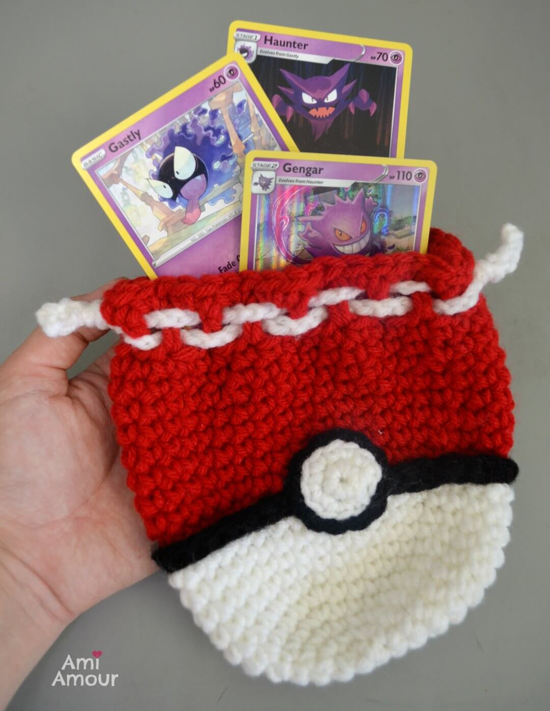 Pokemon Card Holder with Crochet Pokeball