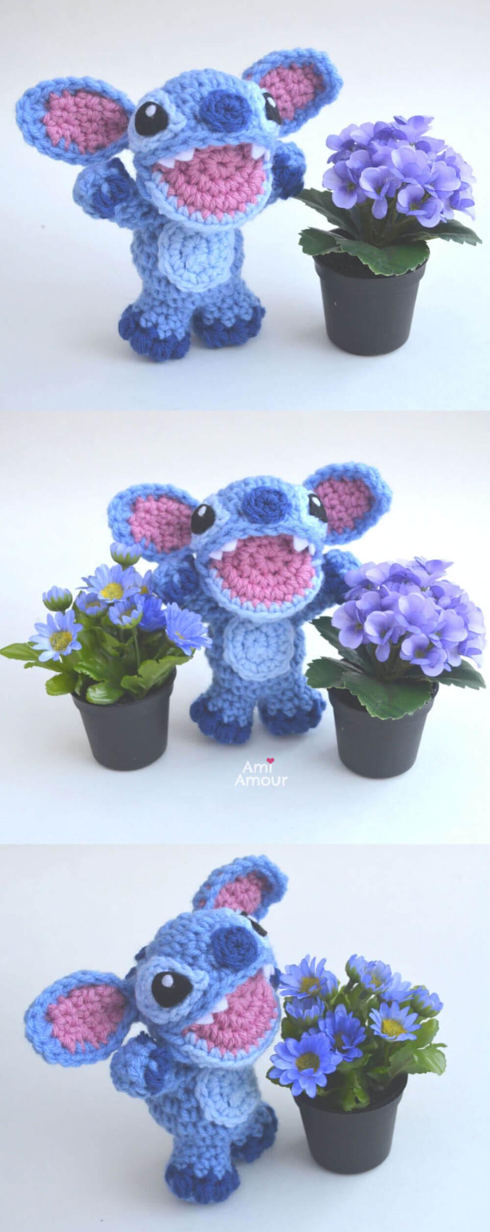Stitch Amigurumi with Flowers - Free Crochet Pattern