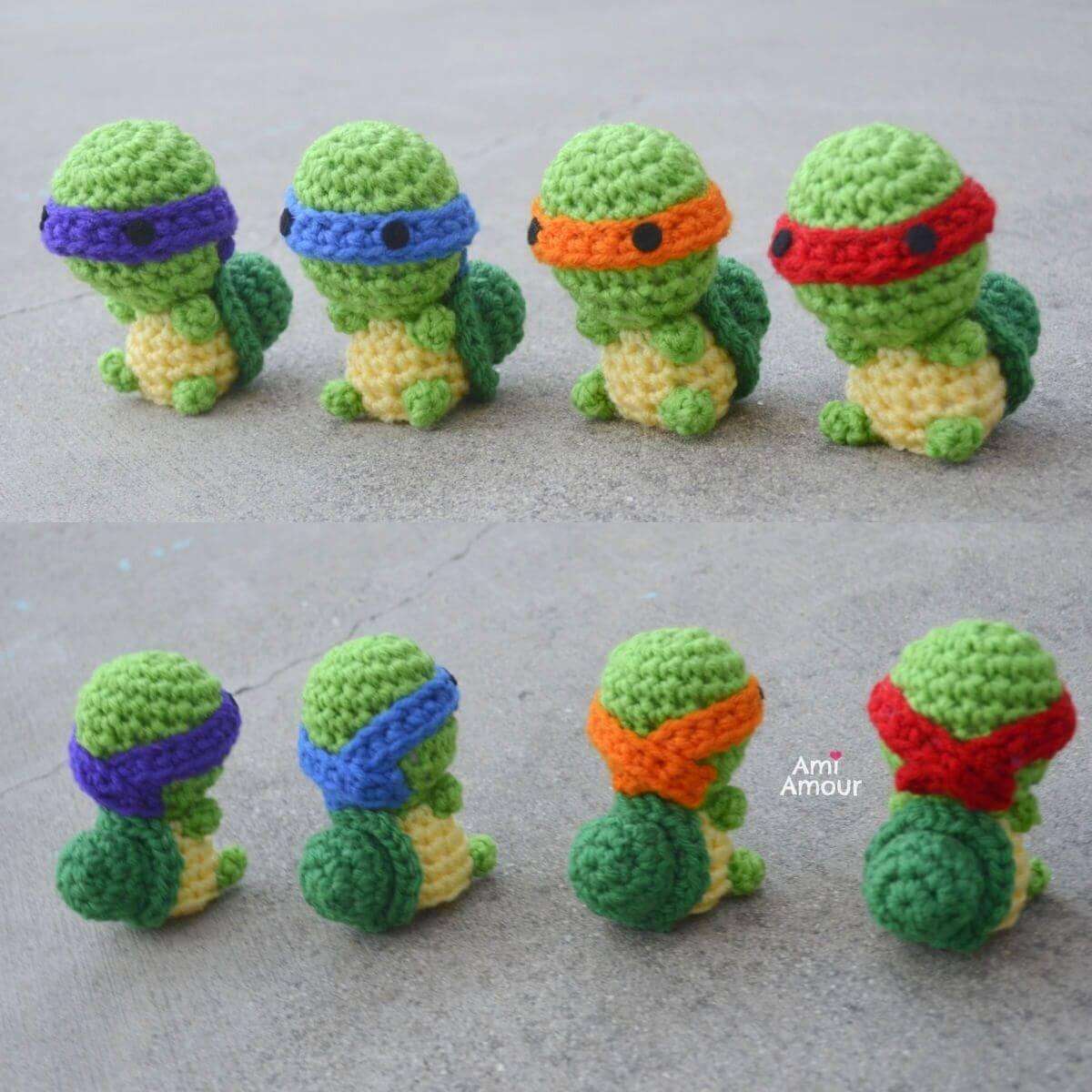 Crochet Ninja Turtles - Front and Back