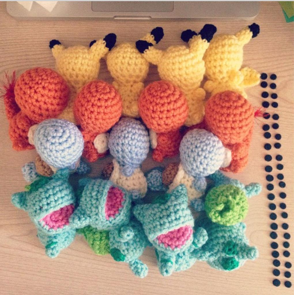 Crochet Pokemon Work in Progress with Felt Eyes Lined Up