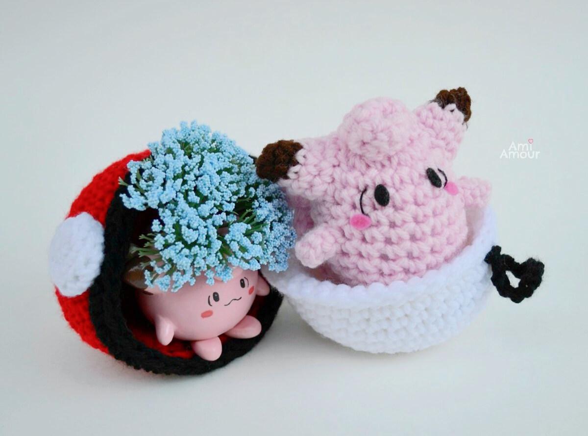 Clefairy Amigurumi in Crochet Pokeball and Clefairy Clay Pot