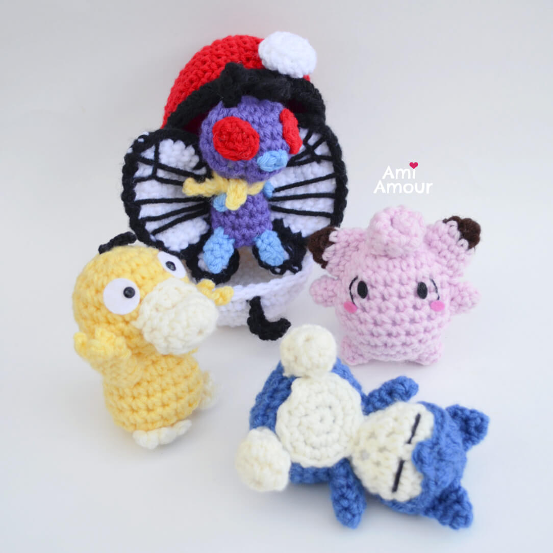 Pokemon Amigurumi of Butterfree, Psyduck, Clefairy, and Snorlax