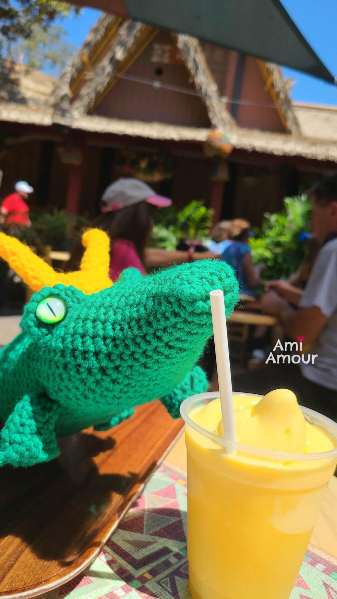 Alligator Loki drinking Dole Whip